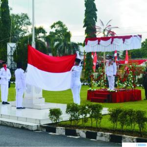 Suasana upacara HUT Kemerdekaan RI di Halaman Balaikota Solok, Senin (17/08/2020) pagi.JON