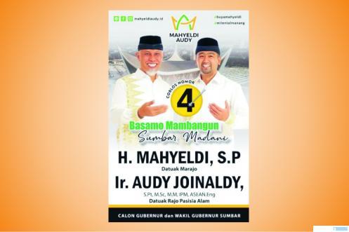 Pasangan Cagub-Cawagub Sumbar Mahyeldi-Audy Joinaldy. Malam tadi pasangan ini memperoleh nomor urut 4.