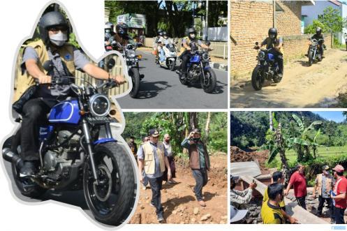 Walikota Padang Hendri Septa mengendarai sepeda motor melakukan monitoring ke sejumlah kelurahan di Kota Padang, Minggu (06/06/2021). IST/PROKOPIM PADANG