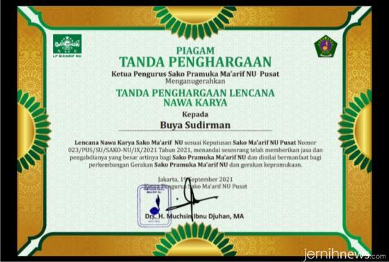 Piagam penghargaan yang diterima saat berulang tahun ke-69 pada 19 September 2021. IST