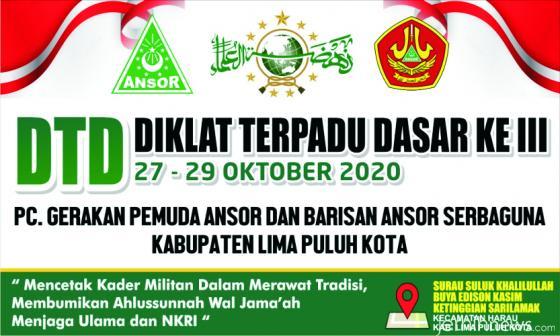 DTD III Tahun 2020 yang dilaksanakan GP Ansor dan Banser Limapuluh Kota. IST