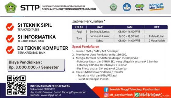 Jadwal dan syarat pendaftaran mahasiswa baru STTP Payakumbuh. DOK/STTP